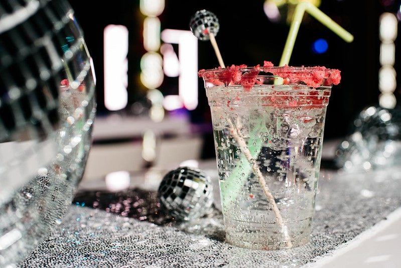 Disco Themed Party Cocktail with Disco Balls