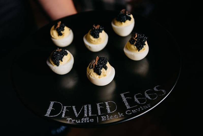 Deviled Eggs Passed Appetizer at Halloween Themed Event