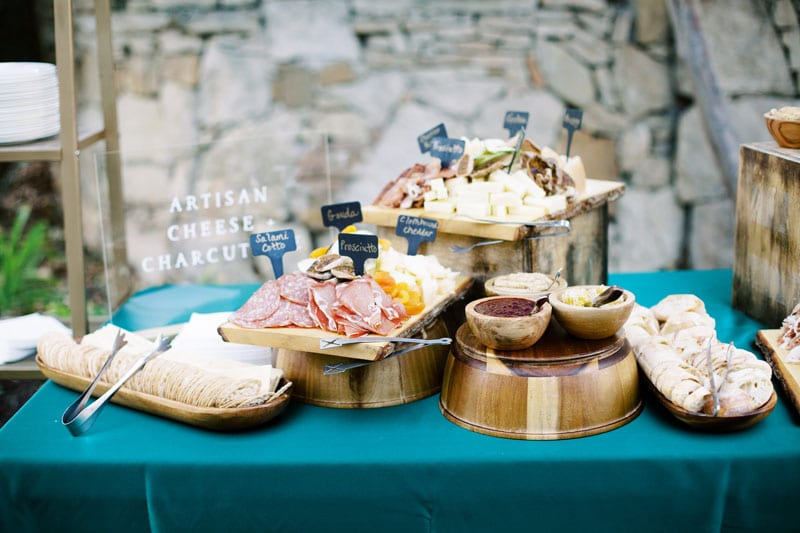 delicious charcuterie boards at holiday party
