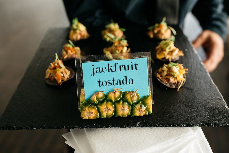 Jackfruit Tostada Passed Appetizer at Tropical Themed Event