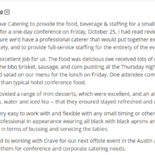 crave rave, rave reviews, review, catering review, austin catering, catering in austin, best catering in austin, austins best catering service, crave rave, catering reviews, best caterer austin, best catering in austin