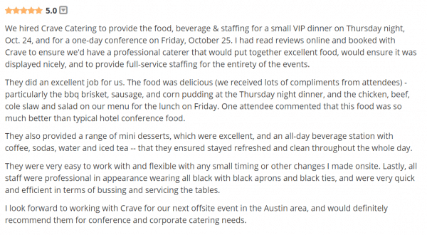 crave rave, rave reviews, review, catering review, austin catering, catering in austin, best catering in austin, austins best catering service